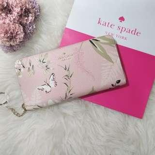 ♠️Kate Spade Briar Lane Botanical Neda Pink Long Wallet 長銀包