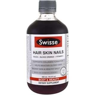 Ready stock Swisse, Ultiboost, Hair Skin Nails (Silica + Blood Orange + Vitamin C), 16.9 fl oz (500 ml)