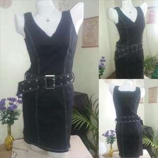 Belted Black Denim Dress