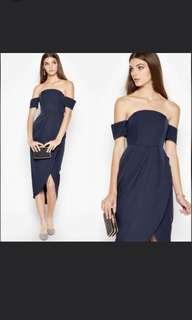 Basic black off shoulder wrap dress
