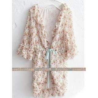 全新日系夏日粉嫩碎花雪紡綁帶罩衫
