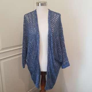 WAREHOUSE Blue Knitted Cardigan Shrug Outer