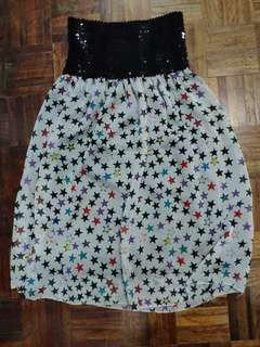 Tube Dress with Sequins and Stars Pattern