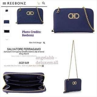 Salvatore Ferragamo Double Gancio Around Zip Wallet with Chain