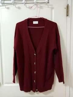 🚚 classic fashion酒紅氣質針織外套 #半價衣服市集