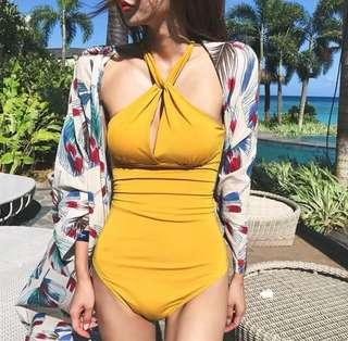 🚚 Mustard halter neck swimsuit