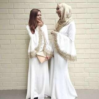 [CLOSED RENTAL] Zalia Lace White Gold Dress