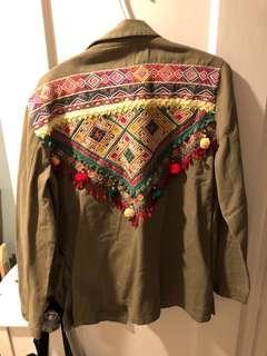 MANGO military jacket with tassels SZ L