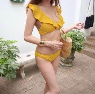 🚚 Mustard ruffles bikini set