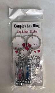 Couple Metal Hourglass Sand Timer Keychain