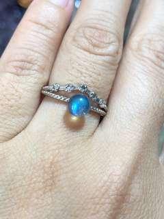 🚚 Natural Labradorite Ring with 925 silver