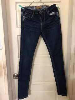 OB嚴選 藍色牛仔褲 窄管褲 緊身褲~L號