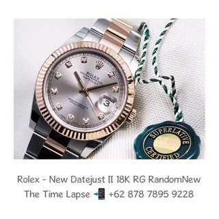 Rolex - New Datejust II, Diamonds Index, Silver Dial Steel & 18K Rose Gold 'Random' (New in Box)