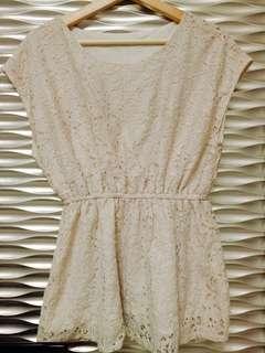 🚚 白色蕾絲收腰短洋上衣