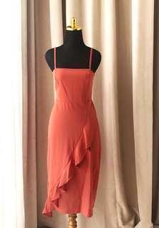 Zara Hnm Topshop Midi Orange Summer ruffle Dress
