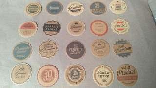 20pcs. Retro Label Stickers