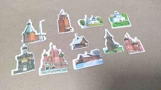 10pcs. Russian Establishment Stickers