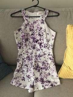 Purple floral playsuit
