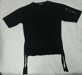 3/4 Sleeve Side Strap Single Zip Top