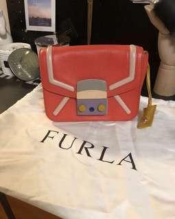 🚚 Furla 限量款橘色彩色造型鏈條包