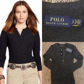 🚚 全新POLO Ralph Lauren亨利領質感鐵灰色羅紋長袖 T shirt 國外帶回 S號