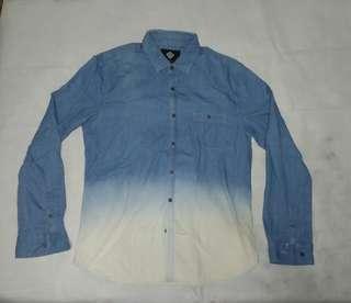 Long Sleeve Blue Ombre Button-up Shirt