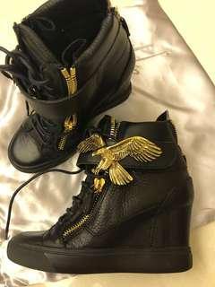 Giuseppe Zanotti black leather high-heel sneakers (size 36.5)