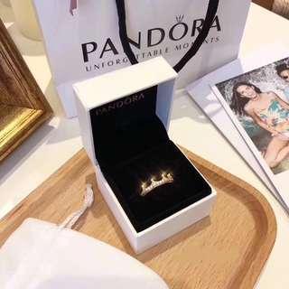 潘多拉戒指 全套包裝 皇冠款 金色