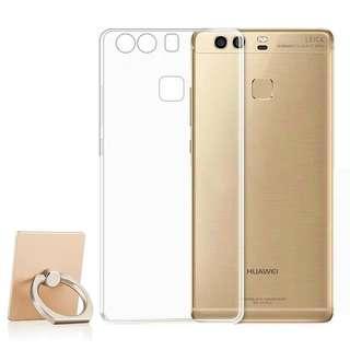 華為p9plus透明手機殼 huawei保護套透明 Mobile phone protector 防摔全包邊 送手指環
