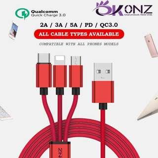 🚚 OKONZ Fast Charge Cable Denim Durable