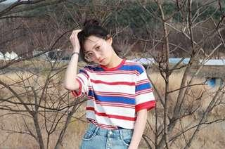 Ulzzang Korean-style color loose short sleeved top