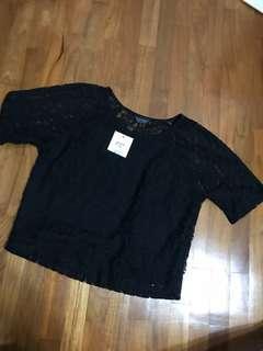 Topshop black lace crop top