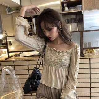 Ulzzang Beige Off Shoulder Smocked Top