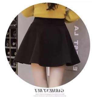 Korean-style black skater skirt