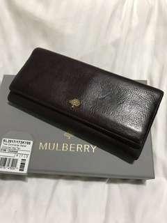 Mulberry 長夾 酒紅色 經典桑樹logo 小羊皮 超大容量  12卡夾 4大夾層 2鈔票夾 零錢夾層有拉鍊 背後1拉鍊夾層