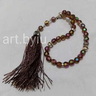Tasbih beads kristal, warna ungu
