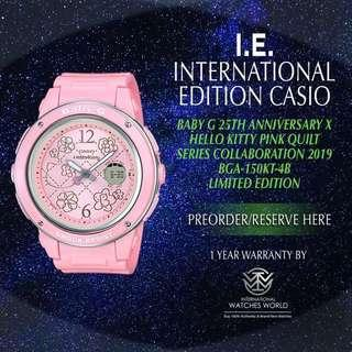 🚚 CASIO INTERNATIONAL EDITION BABY G 25TH ANNIVERSARY X HELLO KITTY PINK QUILT SERIES BGA-150KT-4B PINK LIMITED EDITION