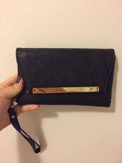 Colette black leather clutch/wallet