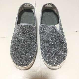 Sparkling silver slip on, shoe, loafers