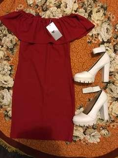 Red dress and white platform boots