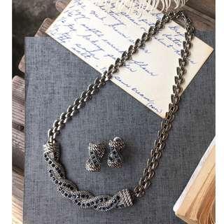 Skin&Moss復古Vintage夾式耳環耳夾古董飾品輕珠寶珍珠水鑽款深藍萊茵石鑽耳環