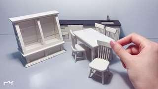 White Wooden Dollhouse Kitchen Furniture