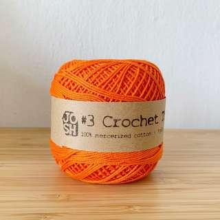 🚚 Size 3 Crochet Yarn (Orange-Red)
