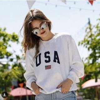 🚚 Brandy Melville USA sweatshirt 美國國旗 長袖
