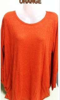 Plain Loose Knitted Top - ORANGE
