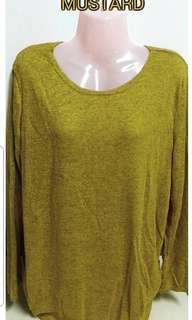 Plain Loose Knitted Top - MUSTARD