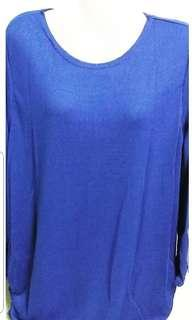 Plain Loose Knitted Top - BLUE