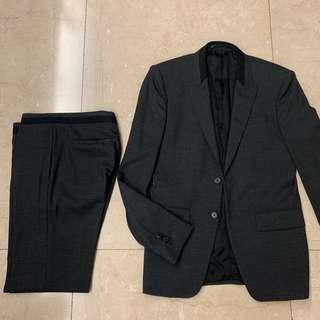 Givenhy Paris Grey Suit with Black Trim