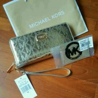 Authentic Michael Kors Zipped Around Gold Wallet