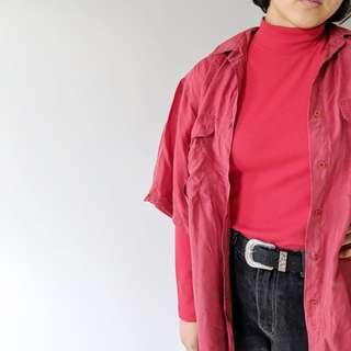 vintage red button up